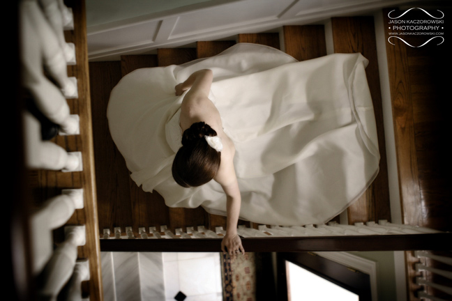 Bride descending staircase