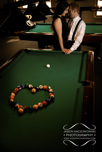 Pool balls in the shape of a heart