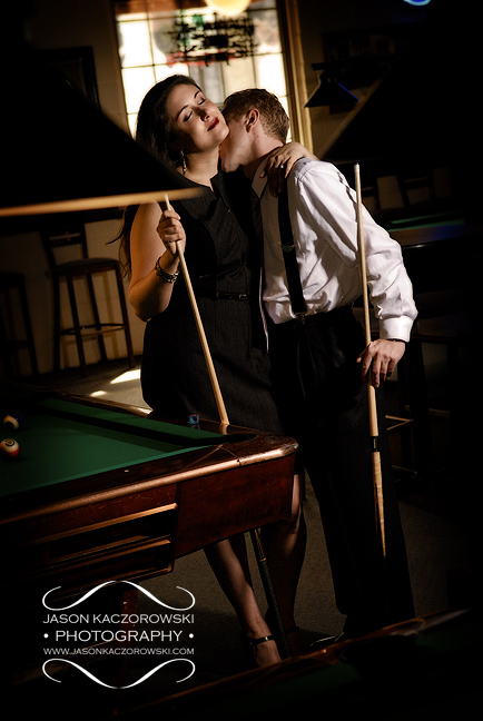 billiards parlor man and woman kissing