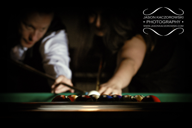 Pool Hall Break Wedding Couple Chicago Illinois