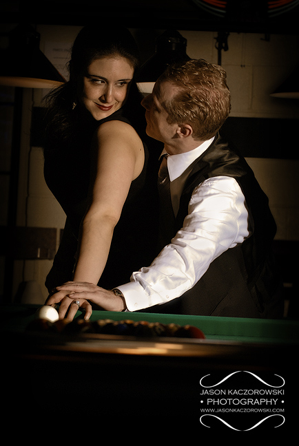 Chicago engaged man and woman at billiards hall in River North