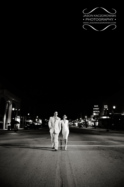 Bride and Groom walking Main Street in Denison, TX