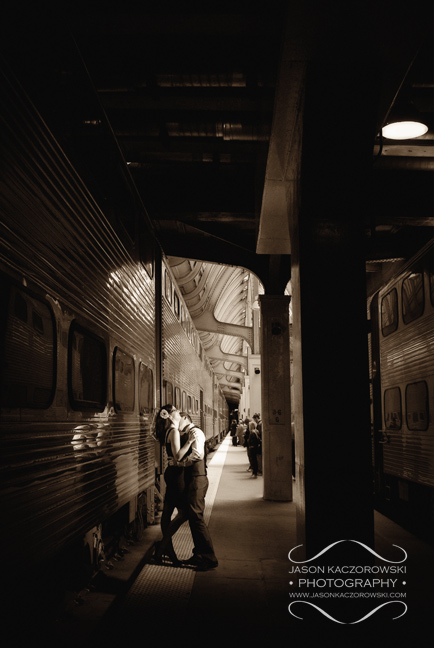 Antique train station engagement photo Chicago Illinois