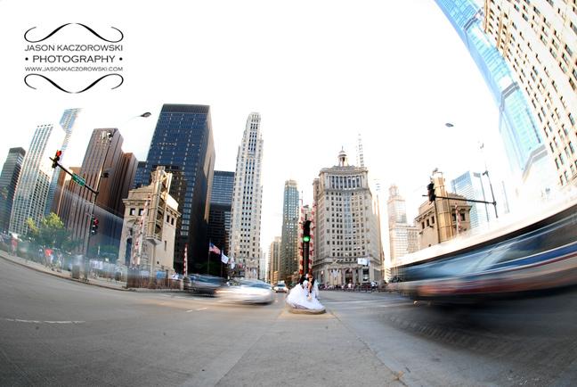 Michigan Avenue Bridge Wedding Picture