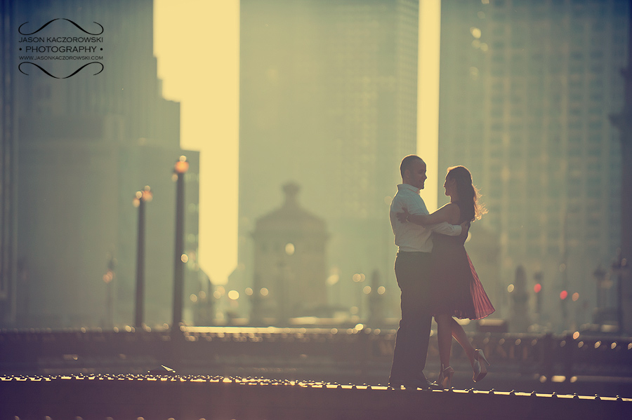 Dearborn Bridge Chicago Engagement Session Picture