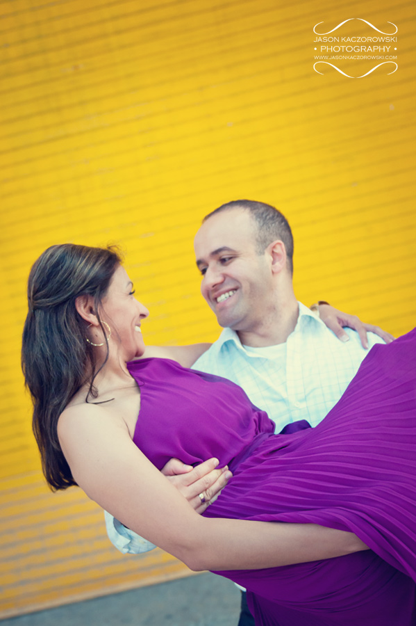 Yellow Door Purple Dress Engagement Pictures 14