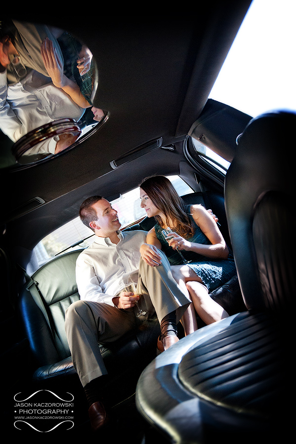 Going Green Limousine Couple Toasting