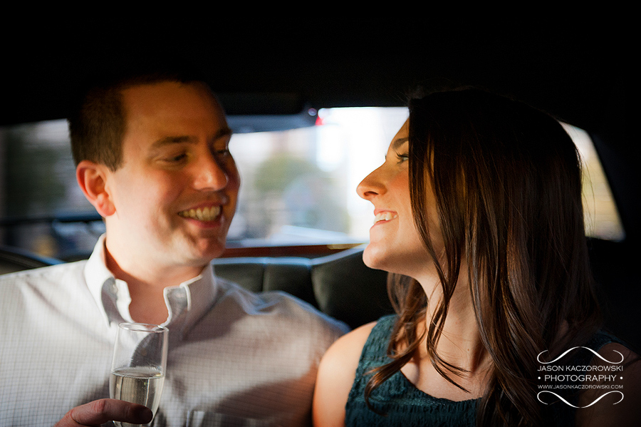 Engaged Couple in Going Green Limousine