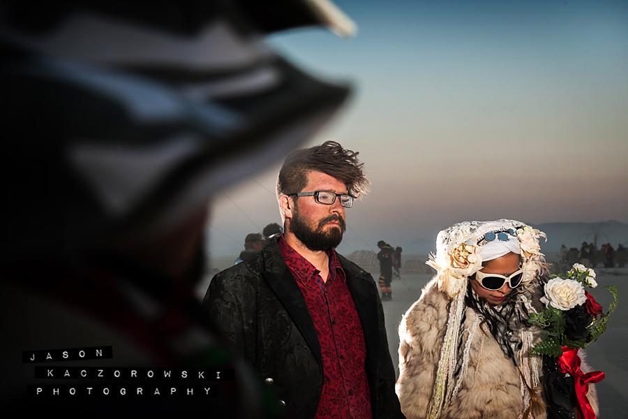 Groom Bride Burning Man 2015