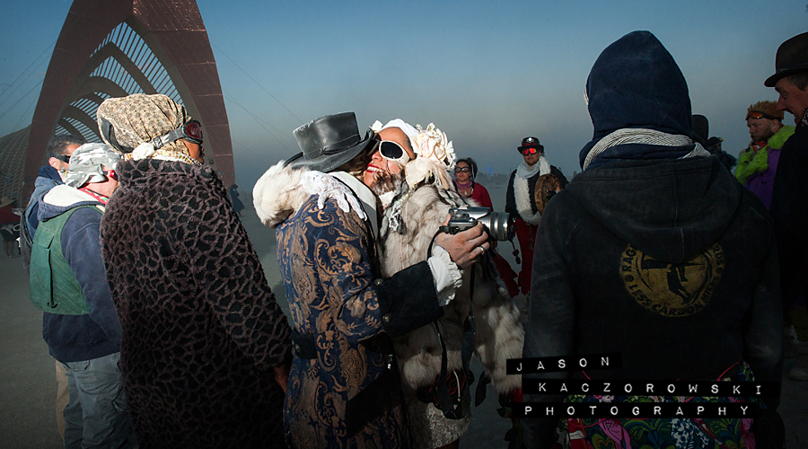 Bride Hugs Groomsman Burning Man 2015