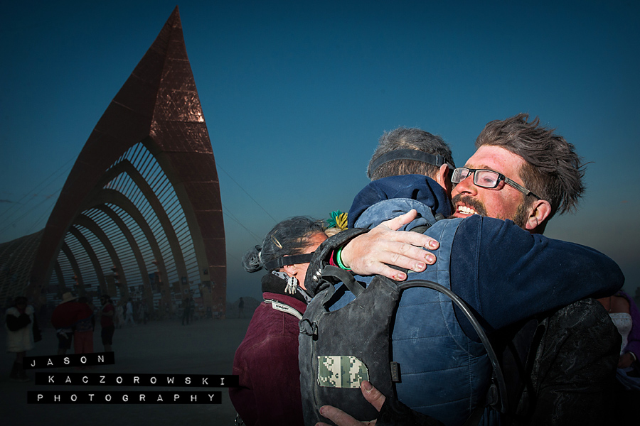 Groom Hugs Groomsmen Burning Man 2015