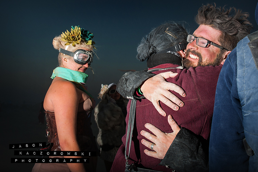 Groom Hugs Groomsman Burning Man 2015