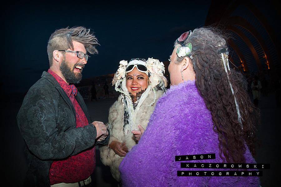 Bride Groom Burning Man Wedding Ring Exchange