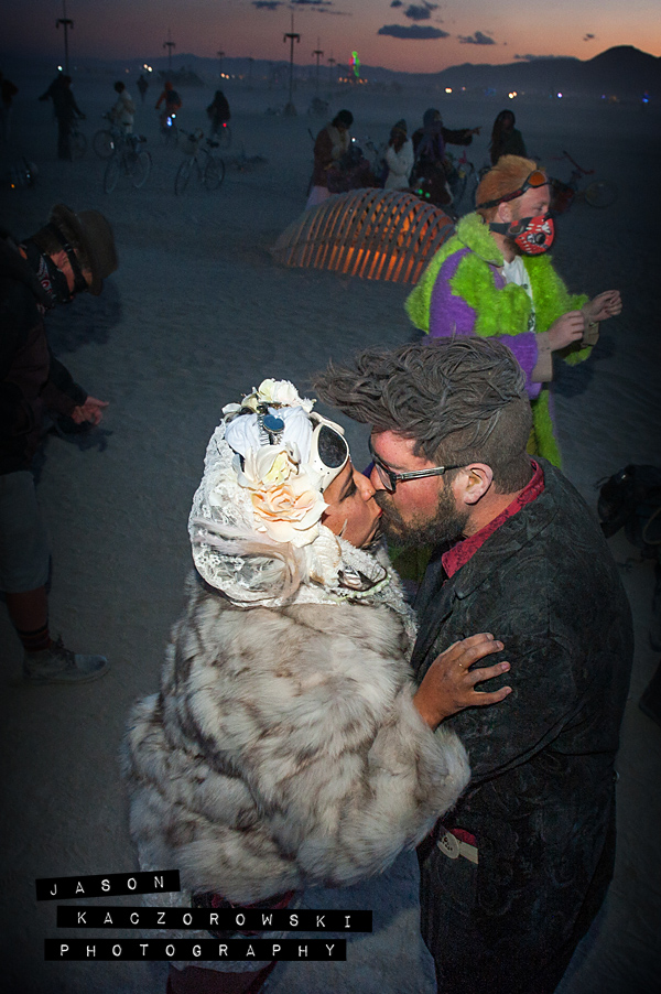 Bride Groom Wedding Kiss Burning Man