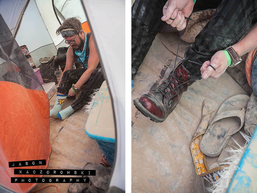 Groom Getting Ready in Tent at Burning Man