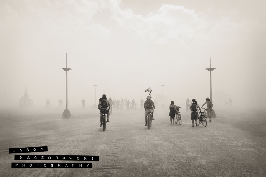 Burning Man Bikers Biking on Bicycles
