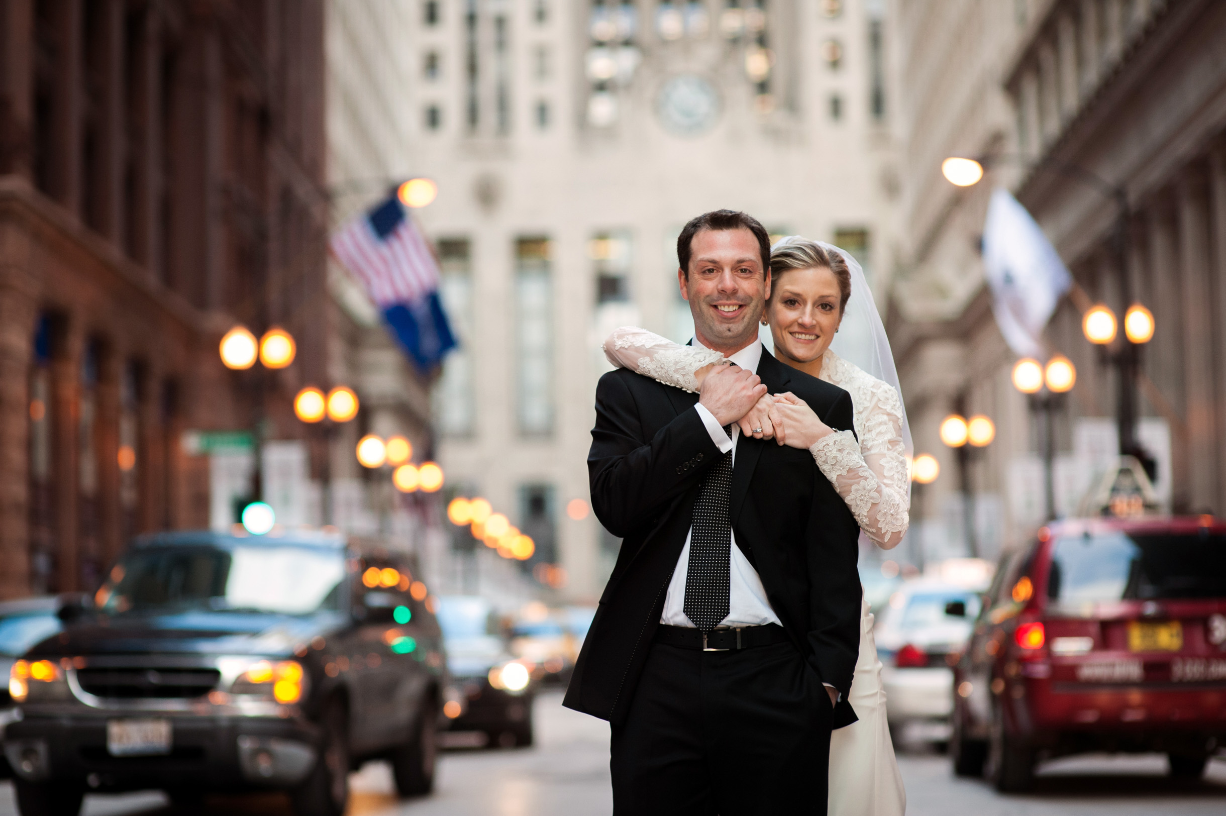 Bride and Groom at Chicago Board of Trade in traffic on LaSalle Street