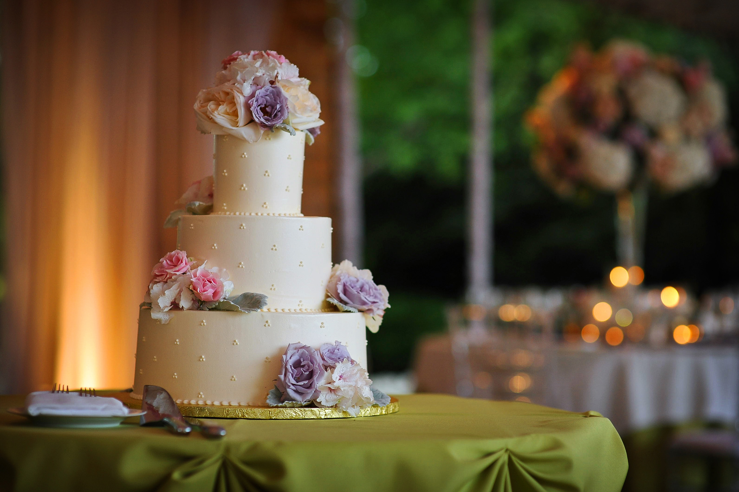 Colorful wedding cake at reception at the Chicago Botanic Garden
