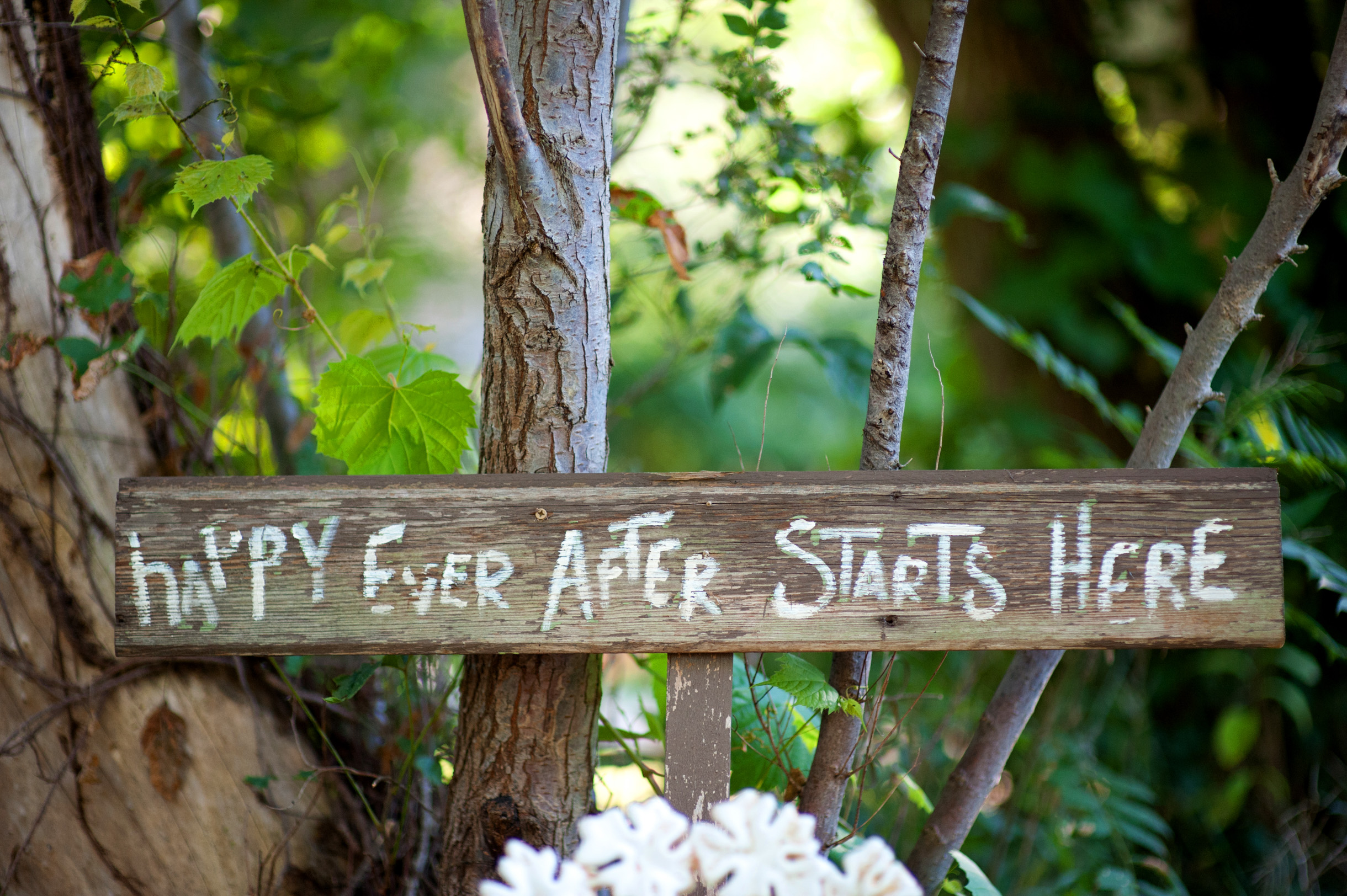 Do it yourself wedding decor sign that reads happy ever after starts here from Blue Dress Barn in Benton Harbor Michigan-230