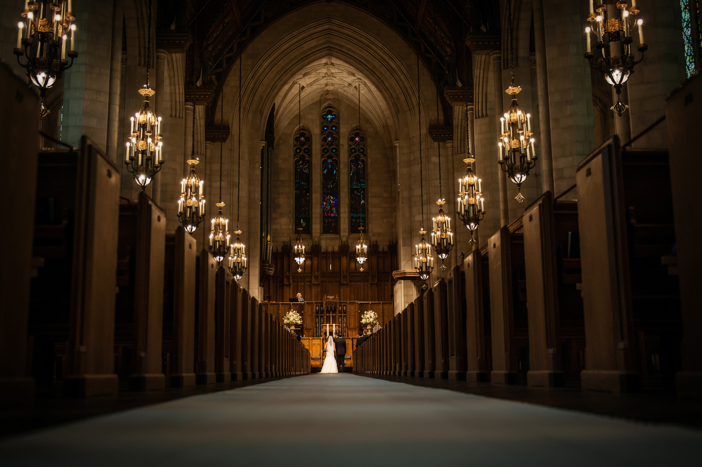 Iconic Chicago  photo during wedding ceremony at Fourth Presbyterian Church