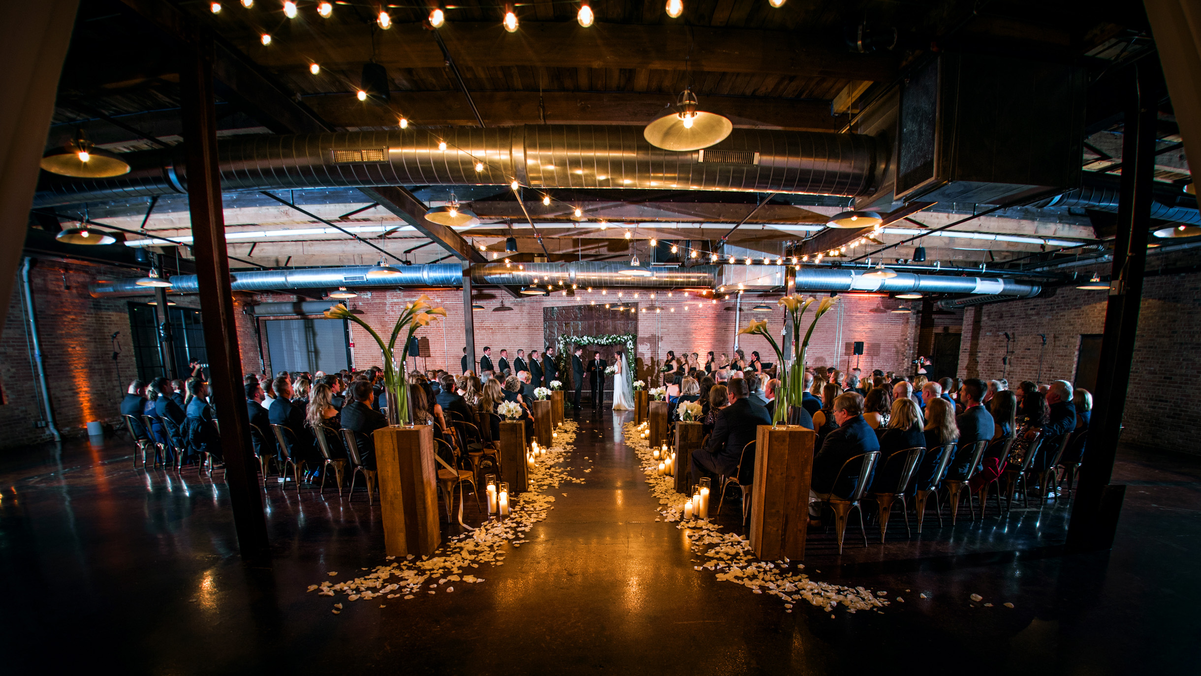 Industrial wedding venue ceremony at Morgan Manufacturing in Chicago