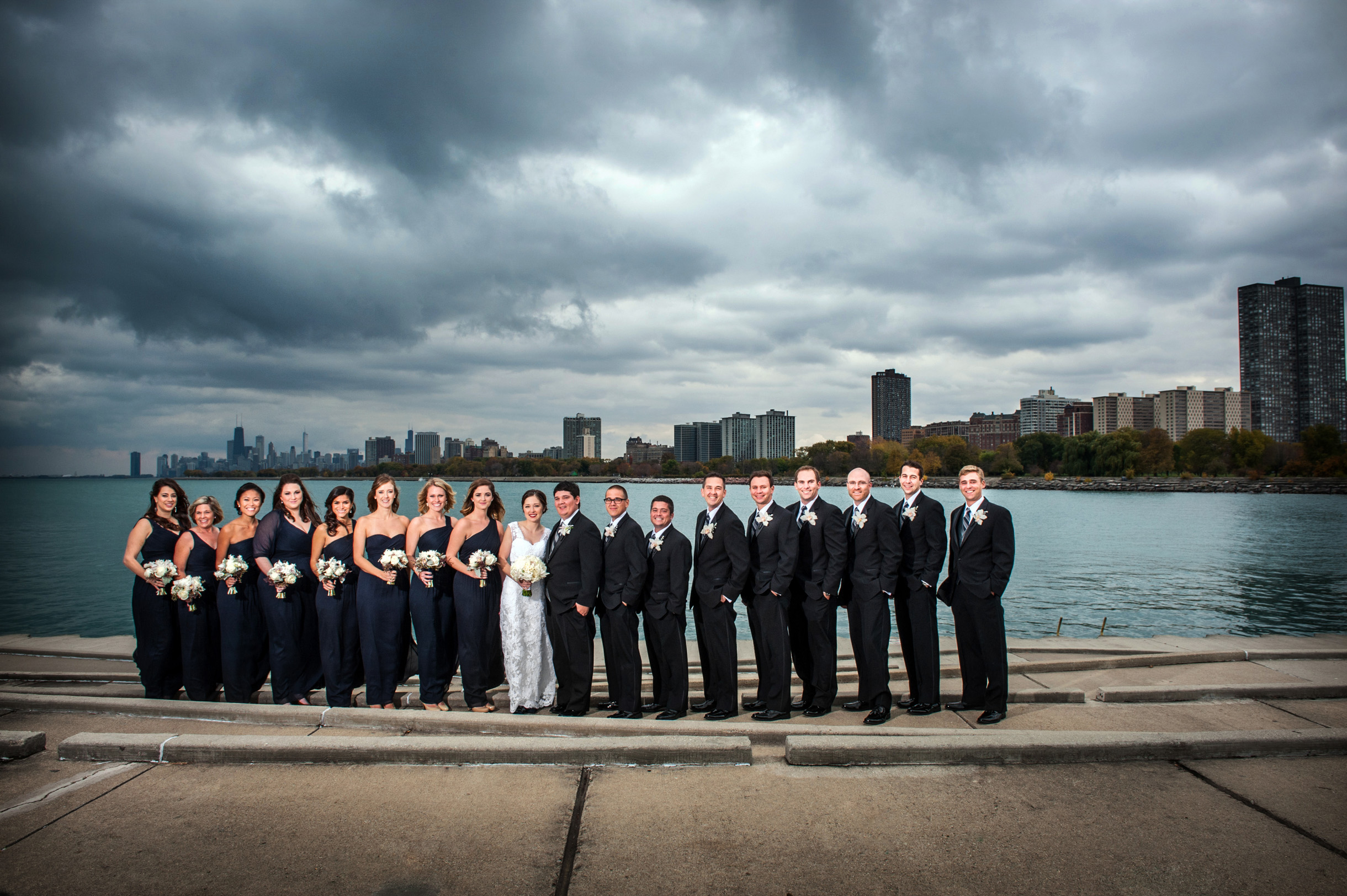 Wedding Party at Montrose Harbor with Chicago skyline in background