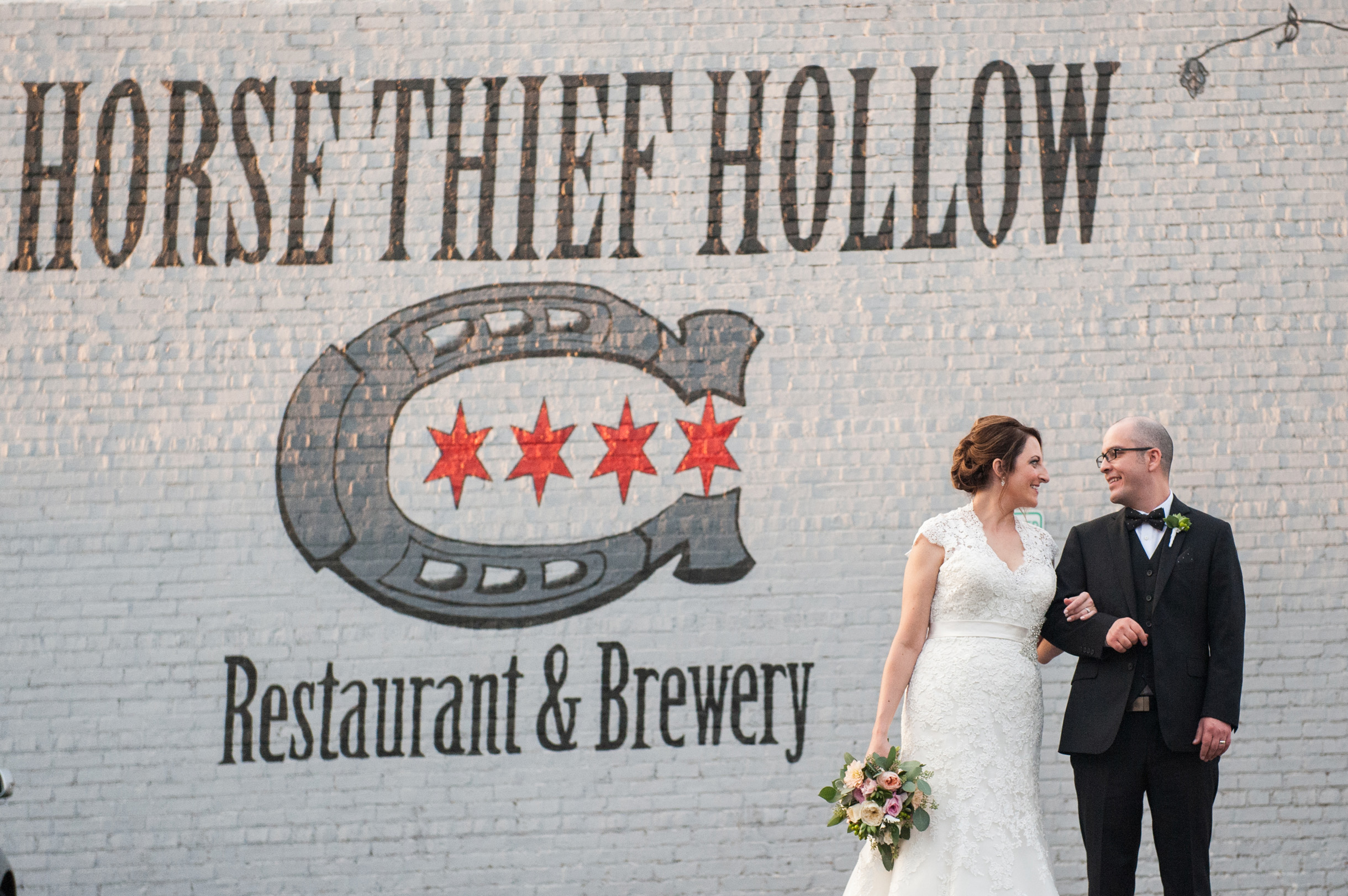 bride and groom at brewery wedding at Horse Thief Hollow in Beverly Illinois