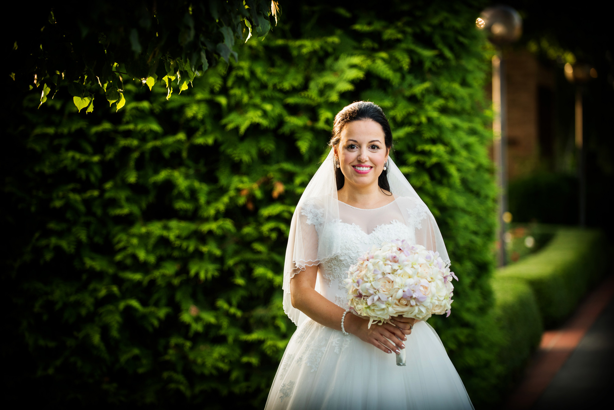 bride at rose terrace of the Chicago Botanic Garden before ceremony