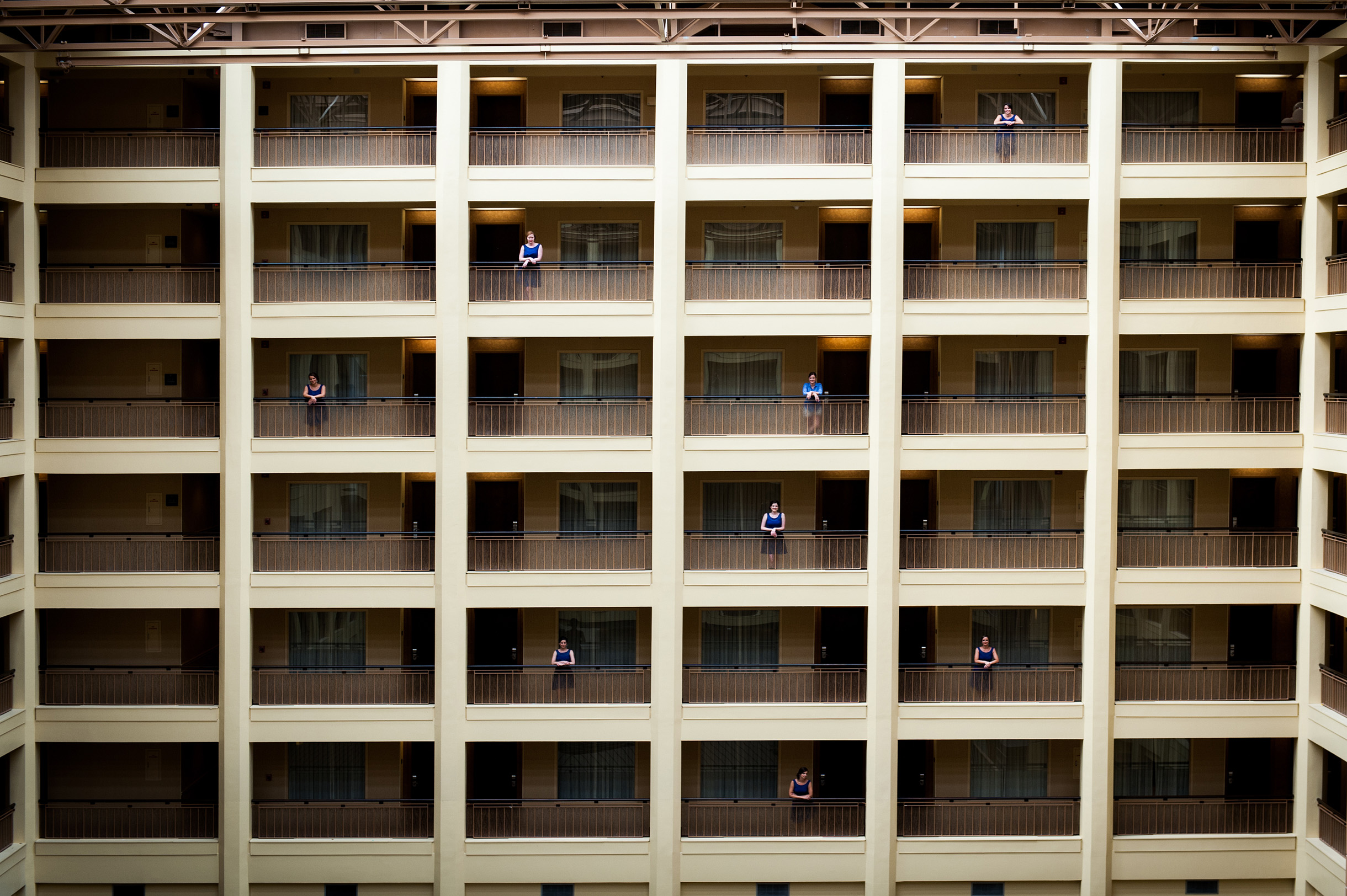 bridemaids on different floors of hotel
