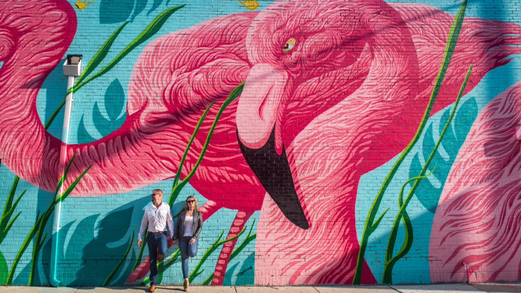 Chicago Engagement Session at Flamingo Rum Club Mural Designed by Andrew Ghrist & JC Rivera