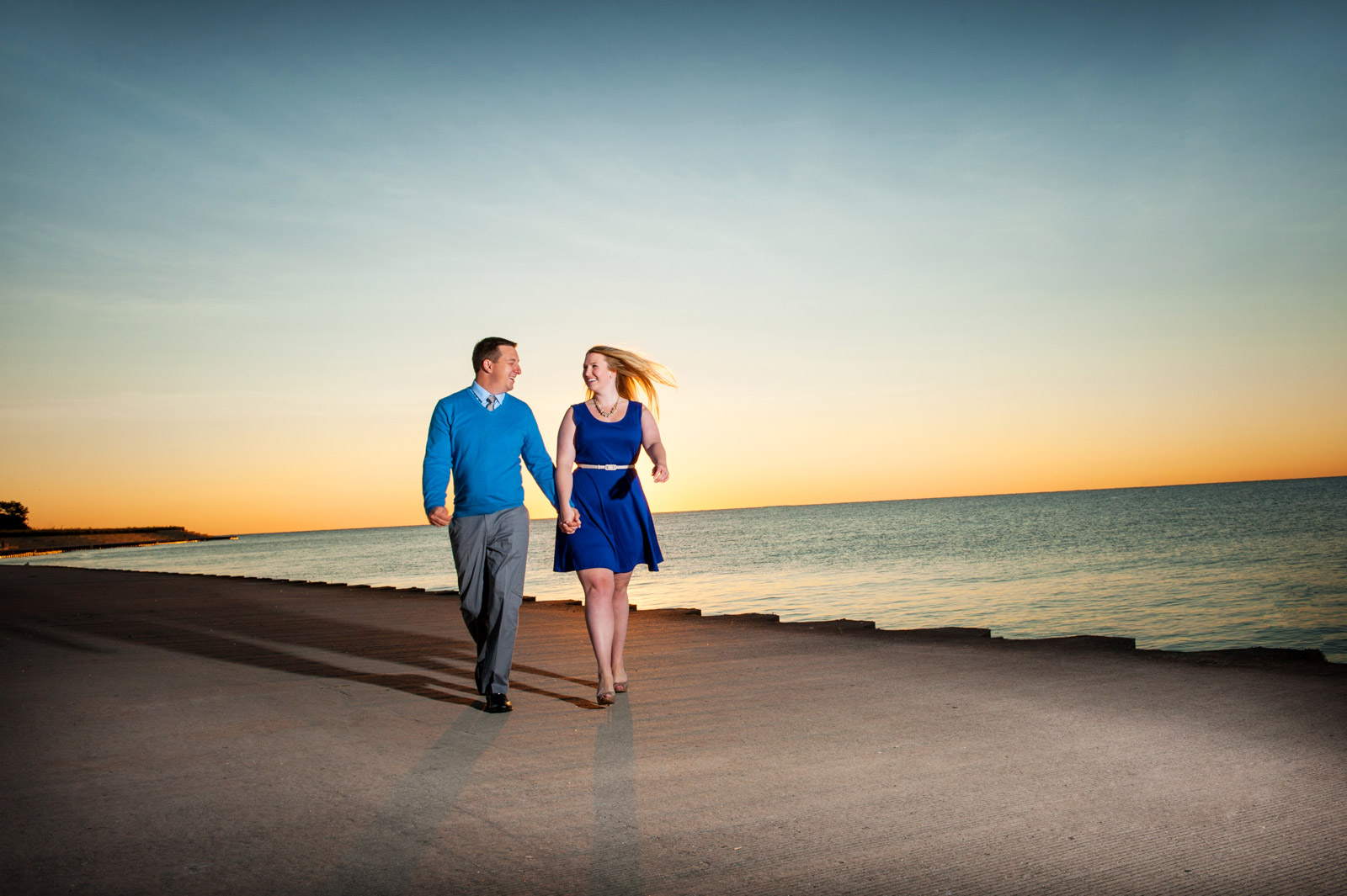 Chicago sunrise engagement session on Lake Michigan in the Summer