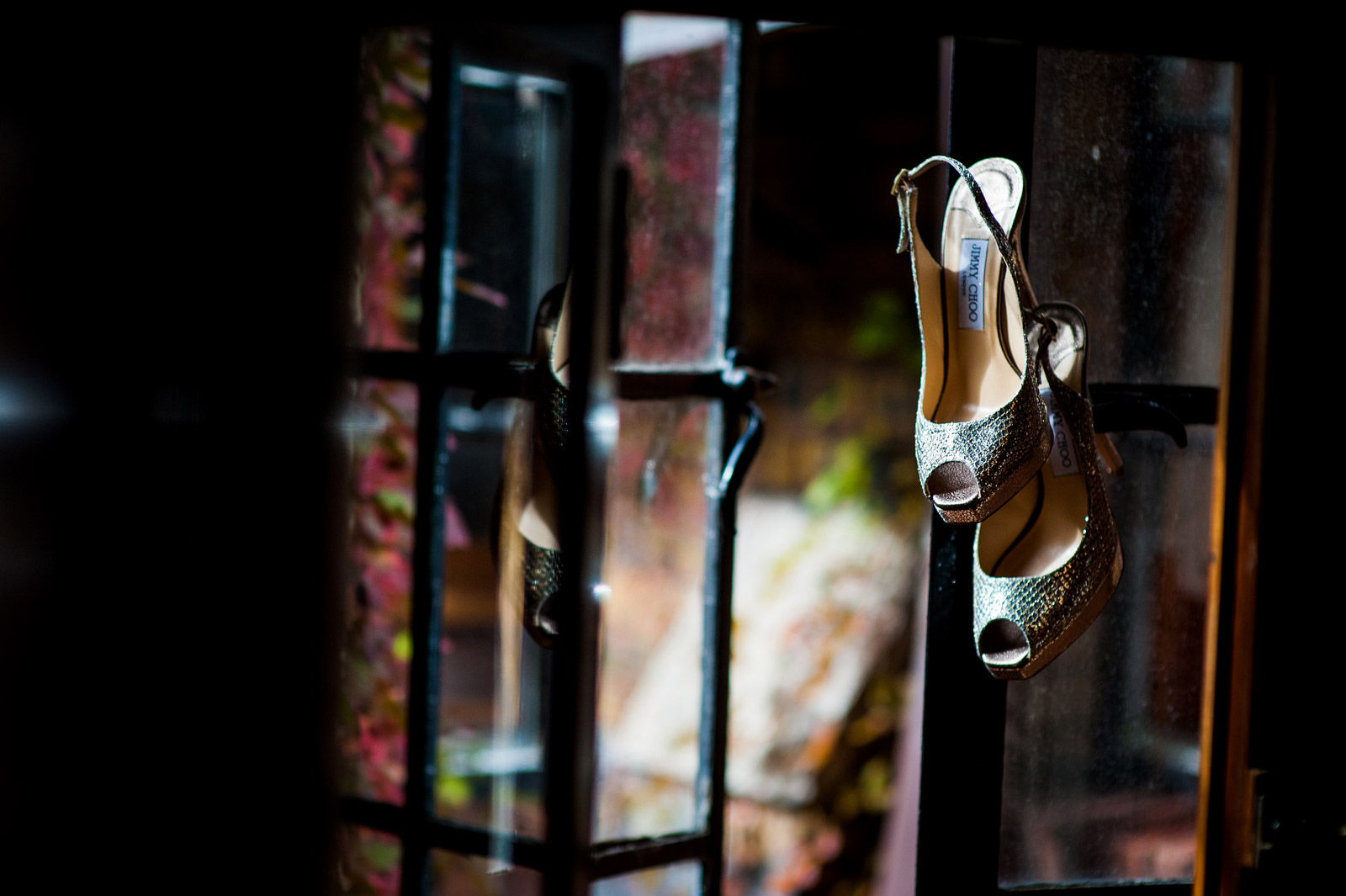 Wedding Shoes hanging in Window