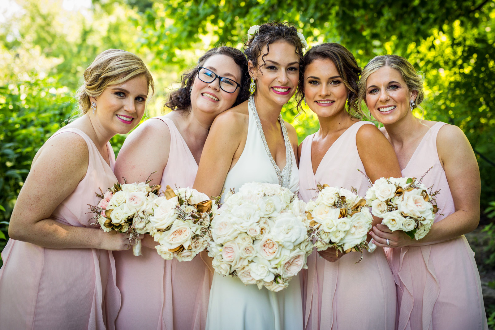 Bride Bridesmaids Wedding Party Photo Lush Greenery