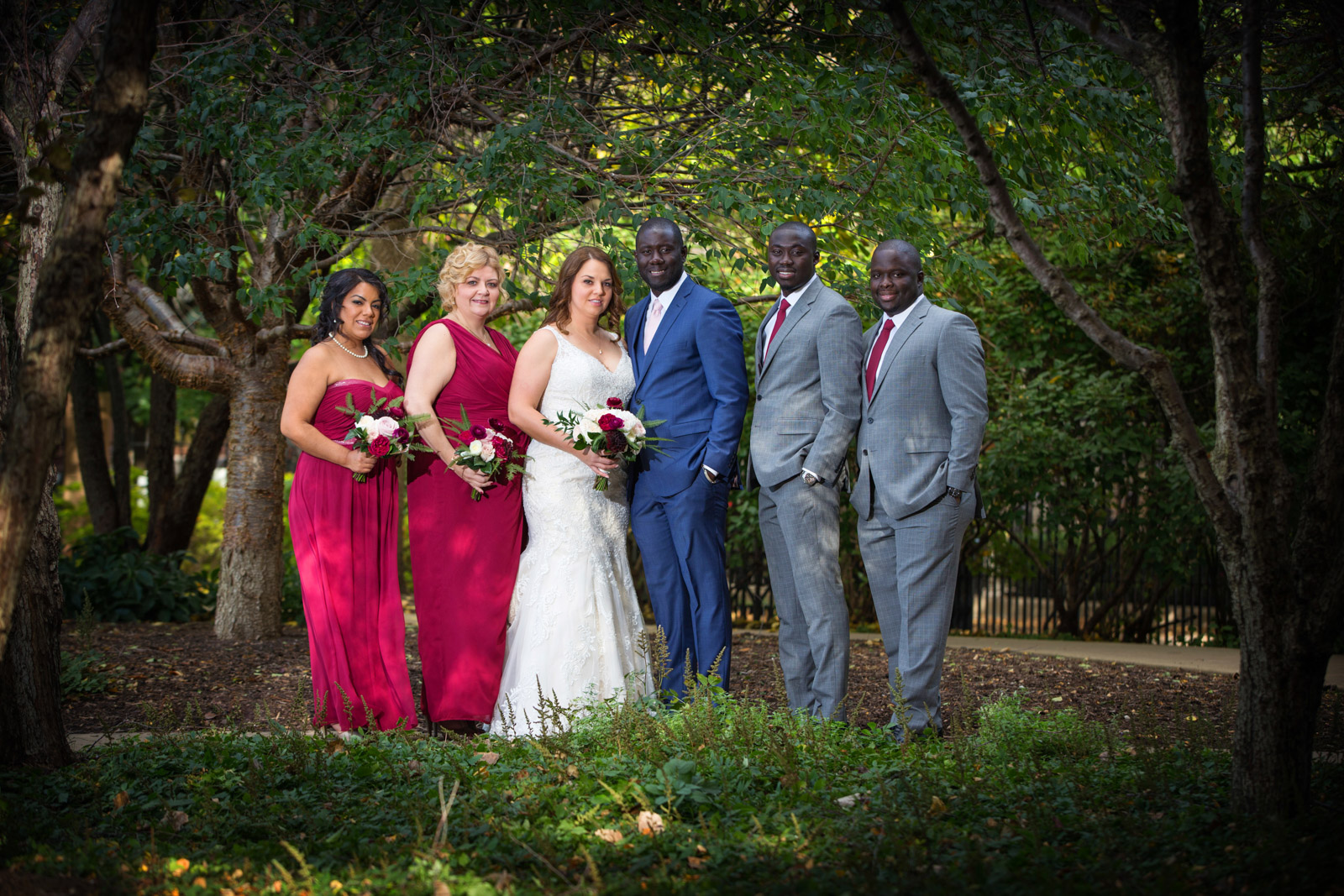 Mixed Wedding Party in Red White Blue