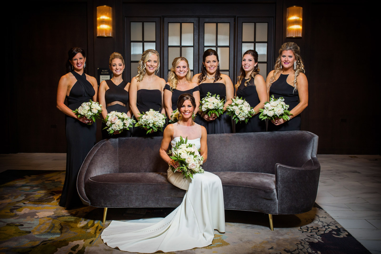 Hotel Allegro Wedding Portrait of wedding party bridemaids