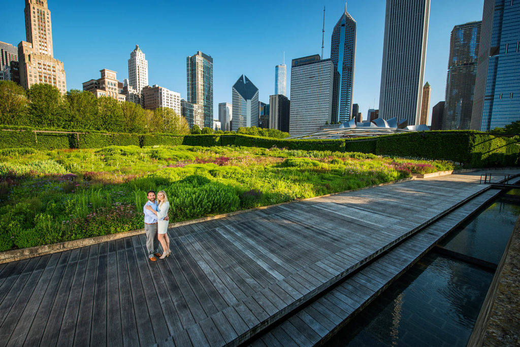 Engagement Session in Lurie Garden in Millennium Park in Chicago