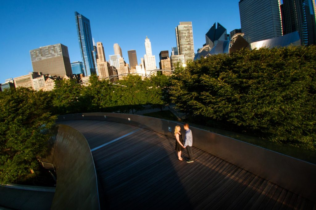 Engagement Session Location in Millennium Park along the BP Pedestrian Bridge in Chicago