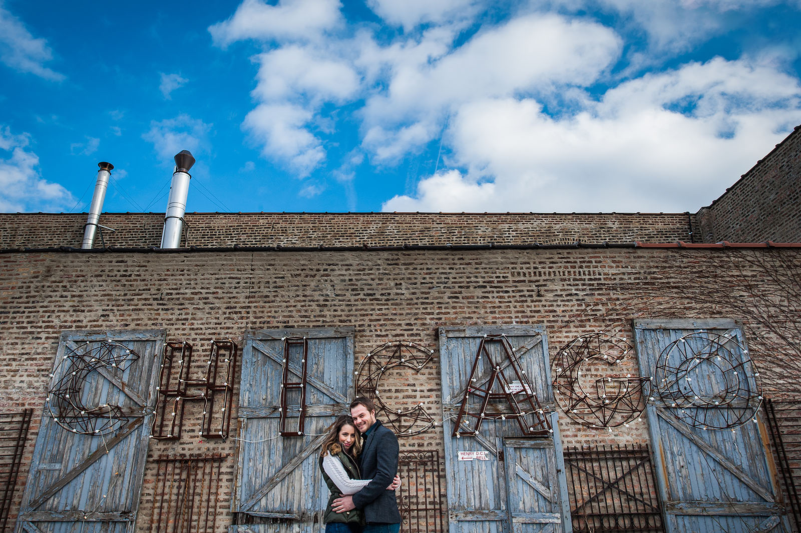 Chicago Sign Salvage One Courtyard Engagement Session Location in Chicago