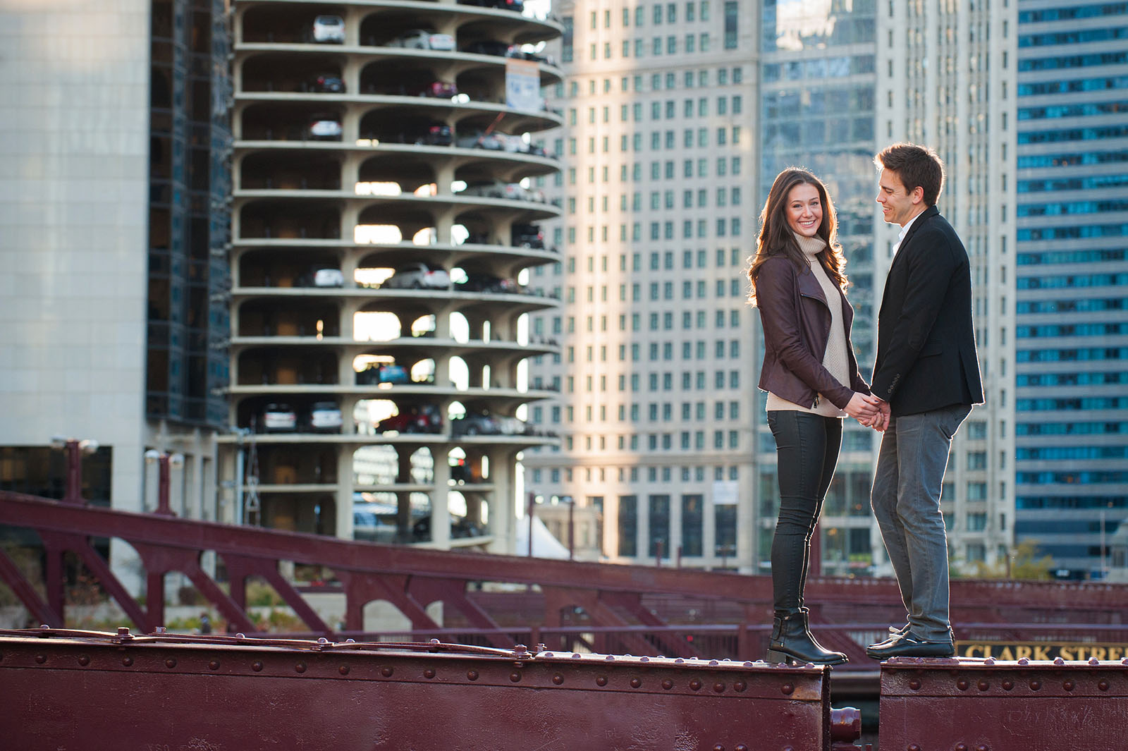 Engagement Session Location in Downtown Chicago on top of Clark Street Bridge by Marina Towers