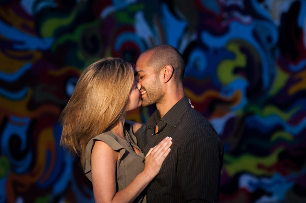 Chicago Engagement Session Mural Location at Night Time