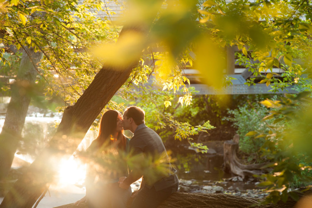 Sunset Engagement Session photo at Naperville Riverwalk River Walk in Naperville