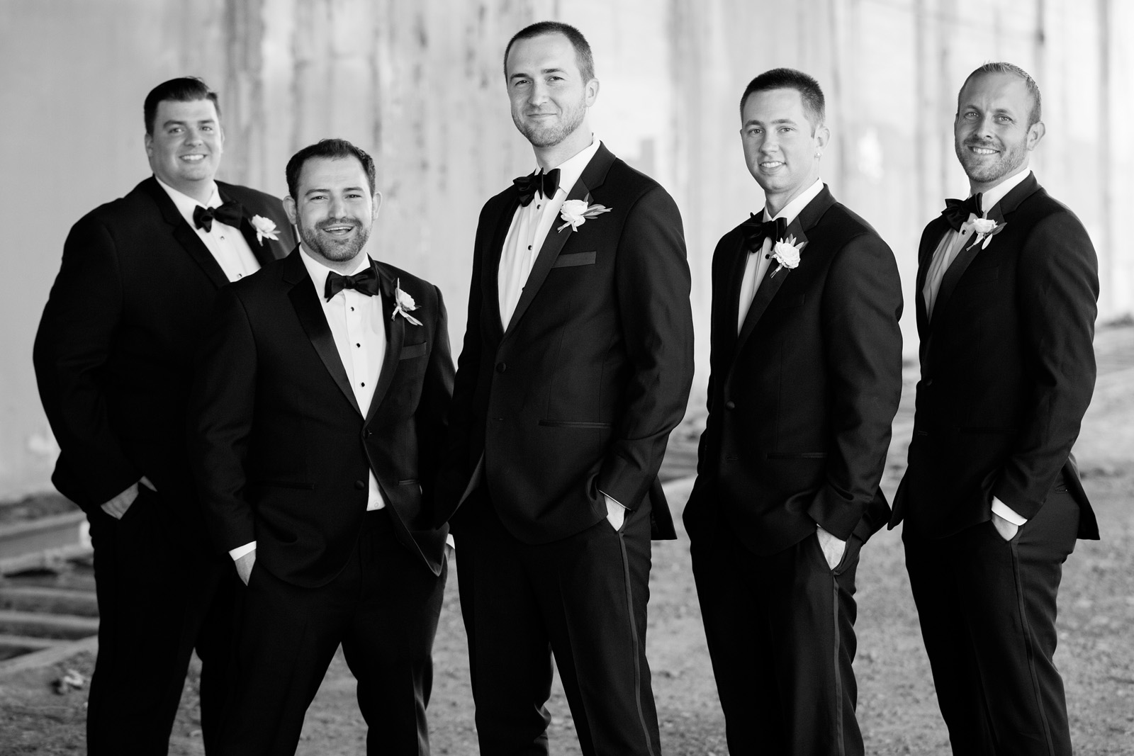 Portrait of Groom with Groomsmen in Black and White