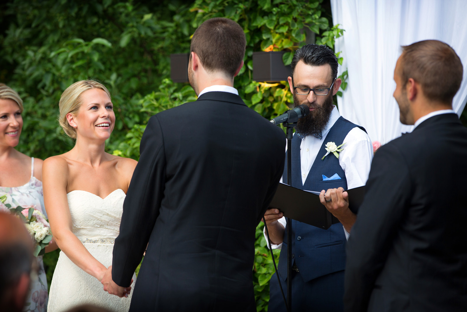 Wedding vows at outdoor ceremony at Galleria Marchetti