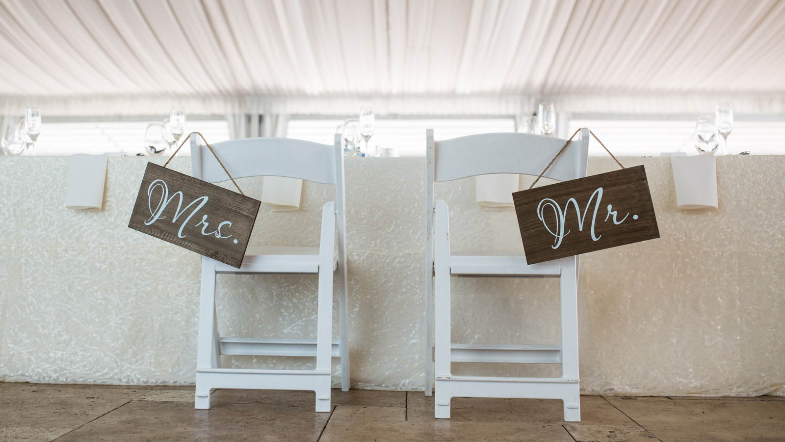 Mr and Mrs sign on chairs at wedding