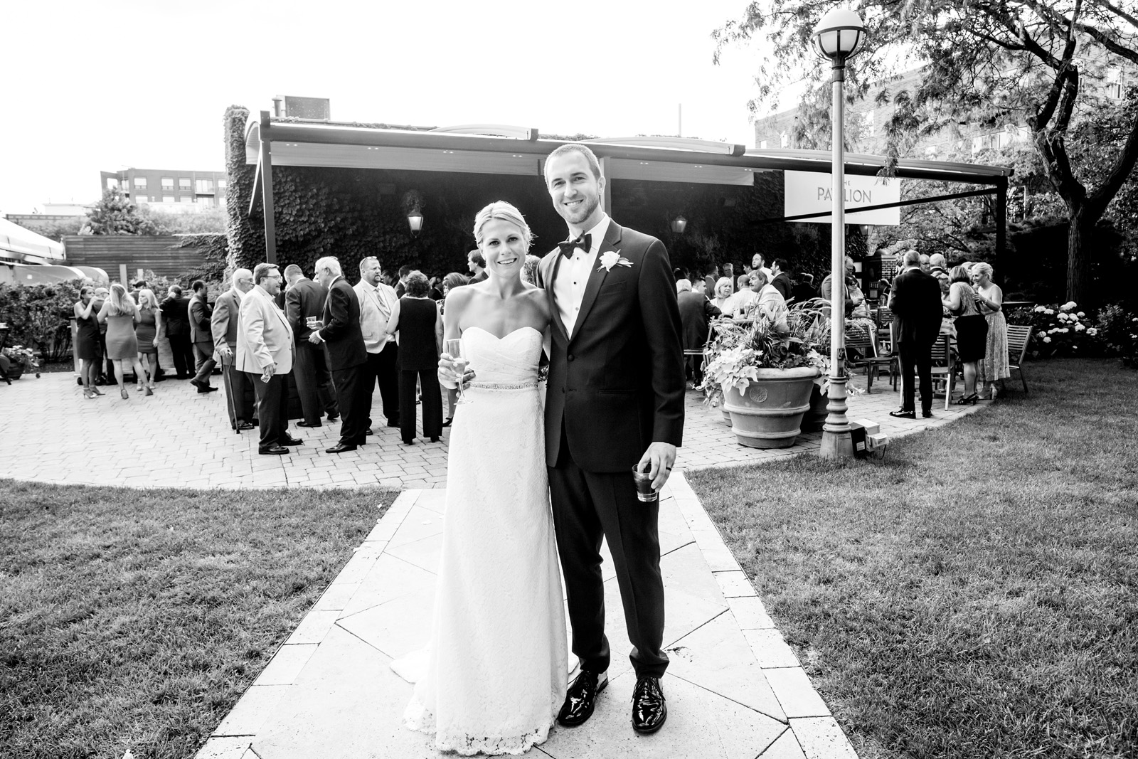 Bride and Groom black and white photo outdoors at Galleria Marchetti Pavilion