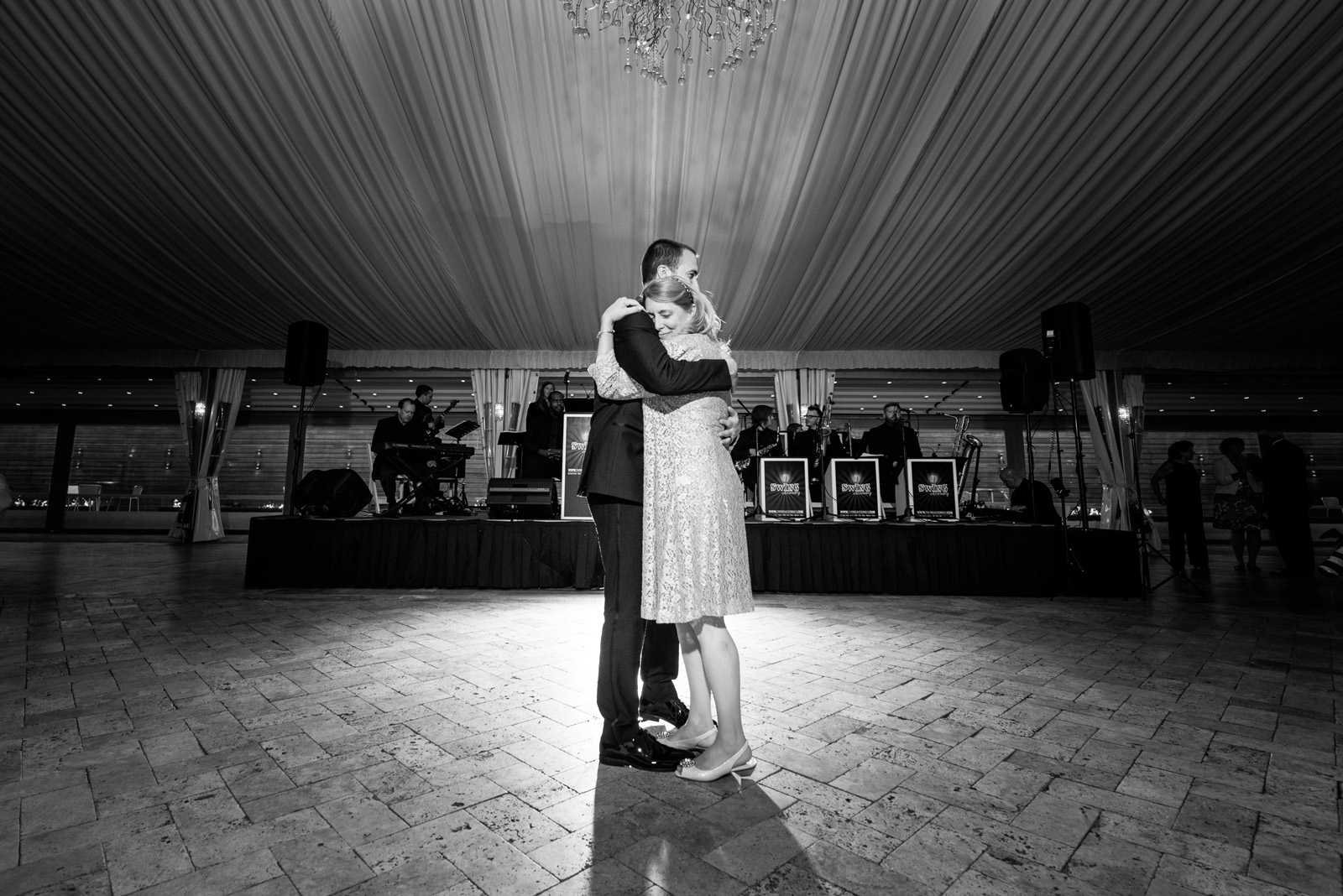 Groom dance with Mother of the Groom during wedding reception at Galleria Marchetti