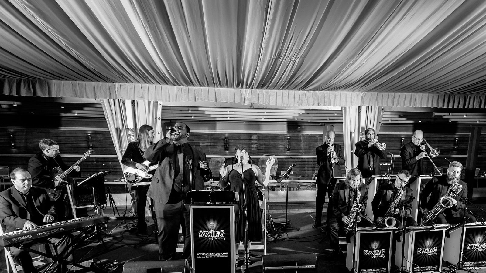 Black and White photo of band performing at wedding