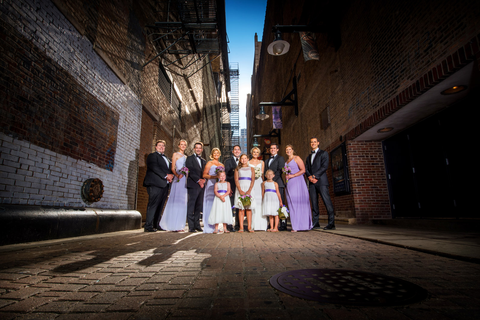 Chicago theatre wedding bridal party photography