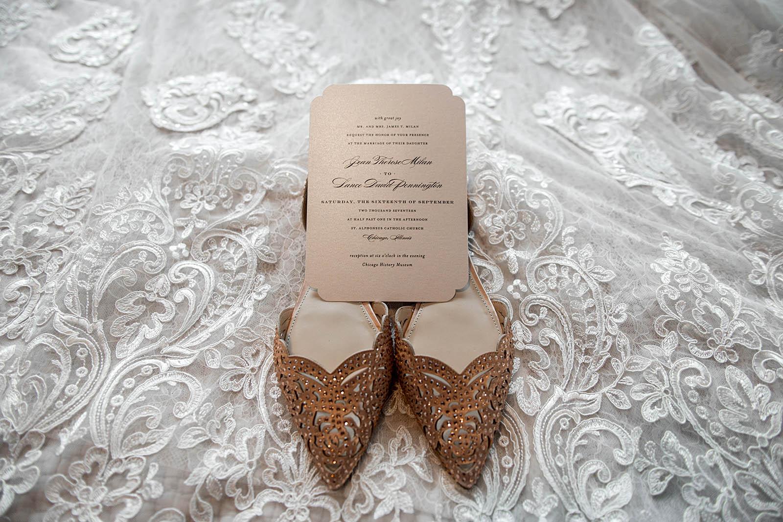 Brides Shoes Wedding Dress Invitation