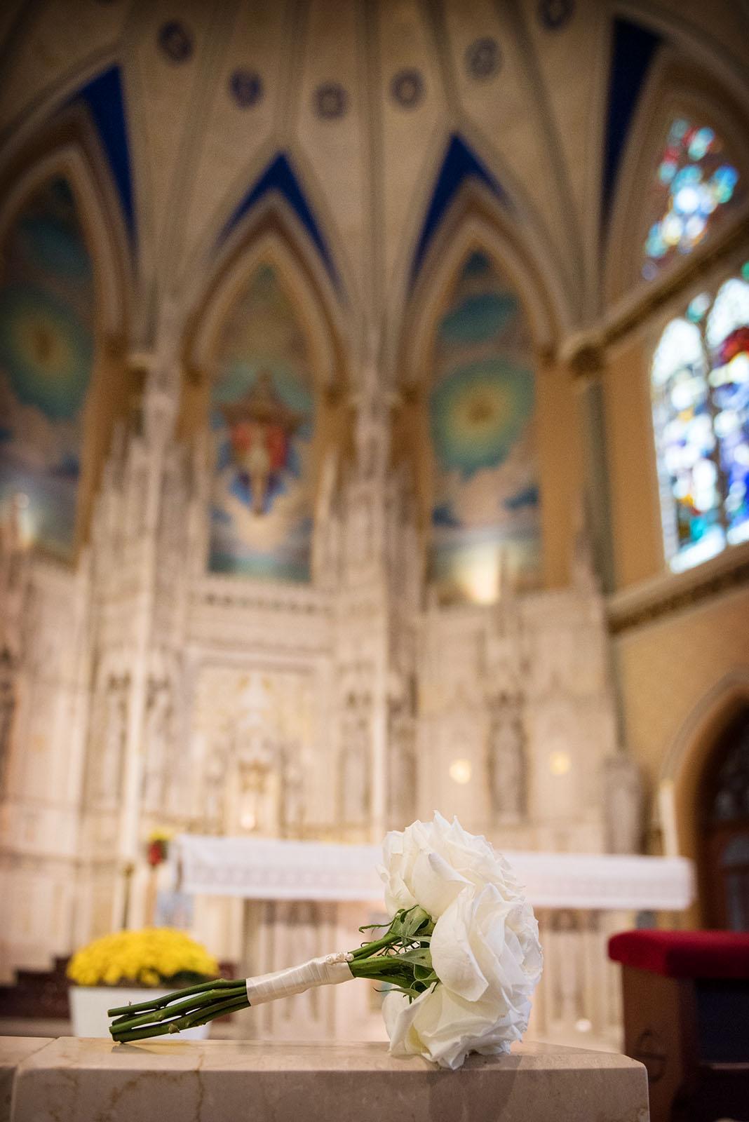 Flowers for Mary altar St Alphonsus Church